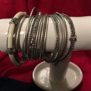 Ivory and Silver Bangles